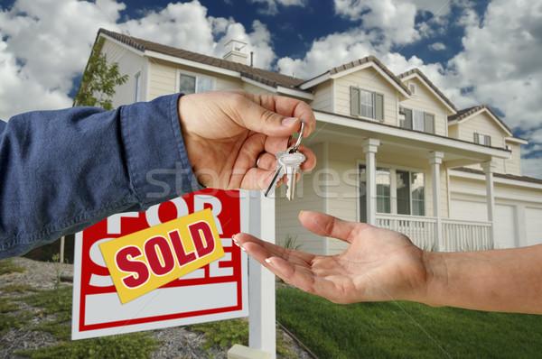 Stock fotó: Kulcsok · új · otthon · eladva · otthon · vásár · felirat