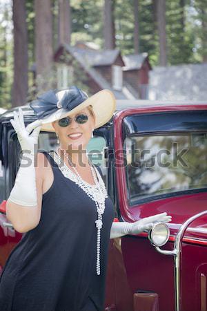 Nő huszas évek antik autómobil vonzó nő autó Stock fotó © feverpitch