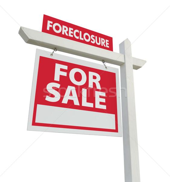Encerramento venda imóveis assinar isolado branco Foto stock © feverpitch