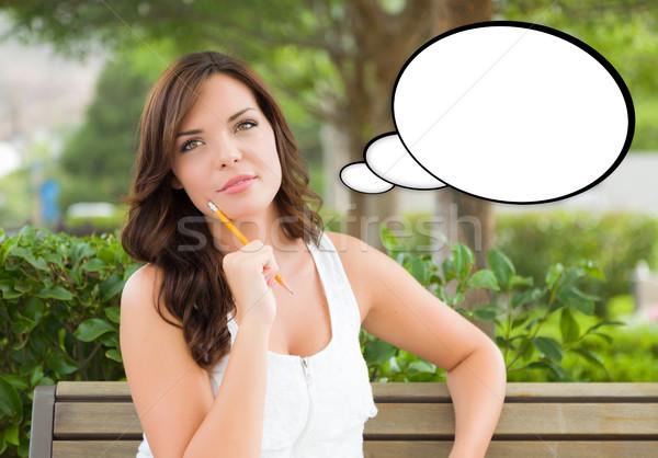 Nadenkend jonge vrouw potlood gedachte bel meisje school Stockfoto © feverpitch