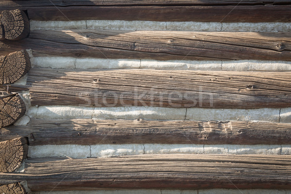 Abstract of Vintage Antique Log Cabin Wall. Stock photo © feverpitch
