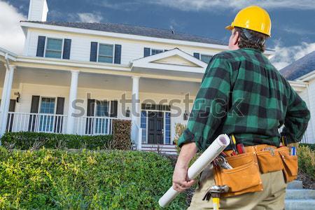 Auftragnehmer schönen Brauch Haus Bau Stock foto © feverpitch