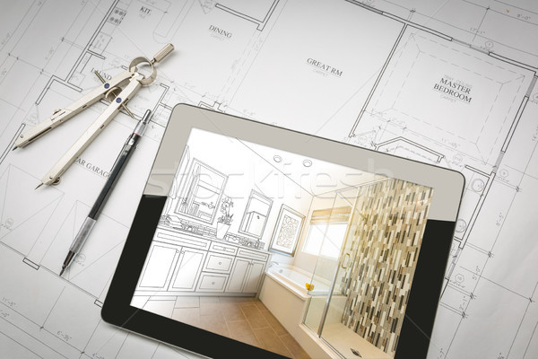 Computer Tablet with Master Bathroom Design Over House Plans, Pe Stock photo © feverpitch
