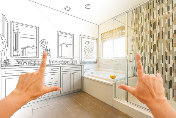 Hands Framing Custom Master Bathroom Drawing and Photo Gradation Stock photo © feverpitch