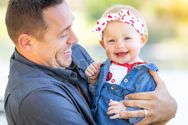 Young Caucasian Father and Baby Girl At The Park Stock photo © feverpitch
