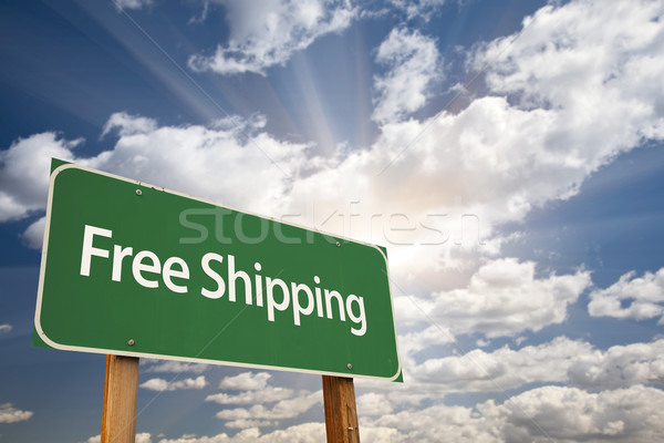 Free Shipping Green Road Sign Stock photo © feverpitch
