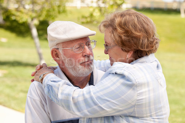 Feliz casal de idosos parque outro mulher Foto stock © feverpitch