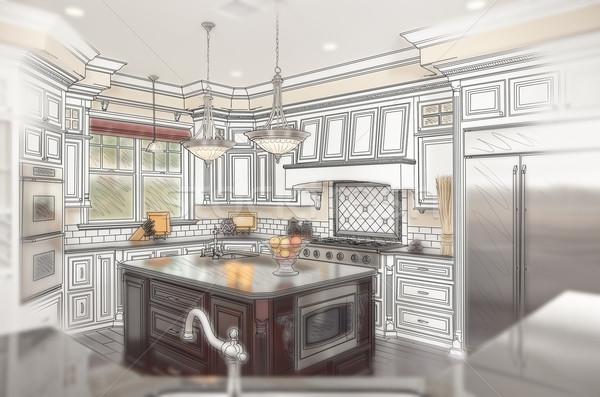 Stockfoto: Mooie · gewoonte · keuken · ontwerp · tekening · foto