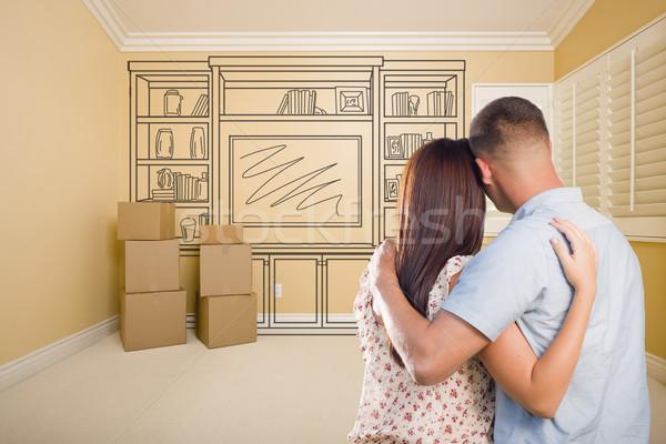 Militar casal quarto vazio prateleira desenho parede Foto stock © feverpitch