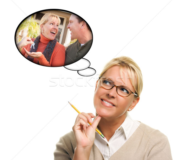 Stockfoto: Vrouw · dacht · bubbels · sleutels · nieuw · huis · echtgenoot
