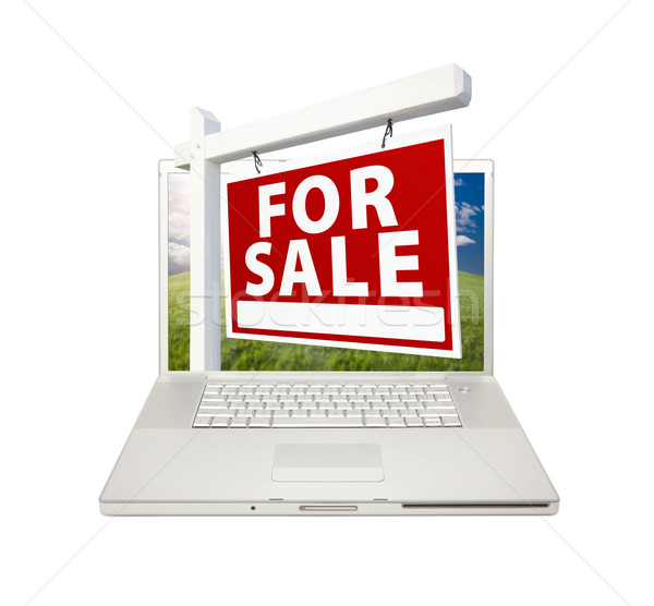 Vásár ingatlan felirat laptop számítógép izolált Stock fotó © feverpitch