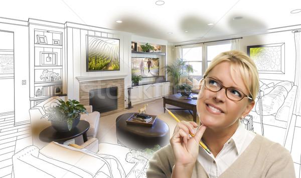 Stockfoto: Vrouw · potlood · woonkamer · ontwerp · tekening · foto