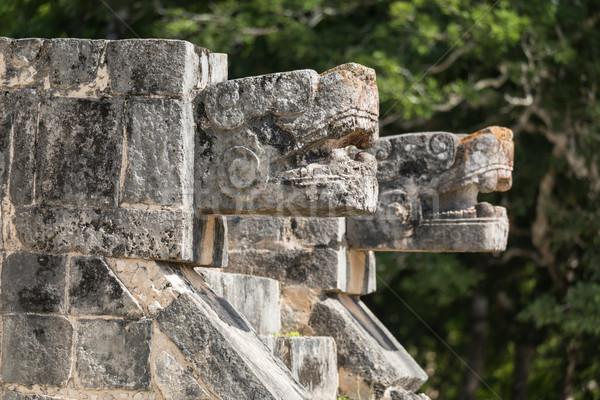 Jaguar archeologische plaats Chichen Itza Mexico Stockfoto © feverpitch
