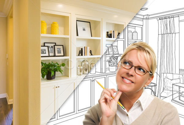 Young Woman Over Custom Built-in Shelves and Cabinets Design Dra Stock photo © feverpitch