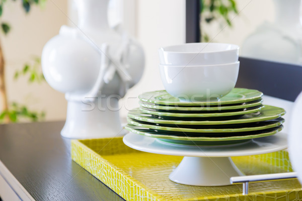 Apple Green Accents Decorative Dining Abstract in Home Stock photo © feverpitch