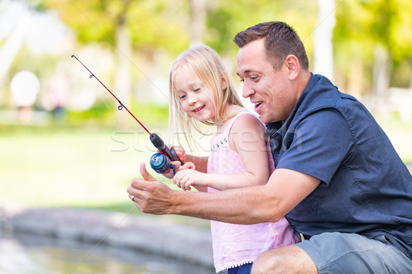 Jovem caucasiano pai filha pescaria Foto stock © feverpitch