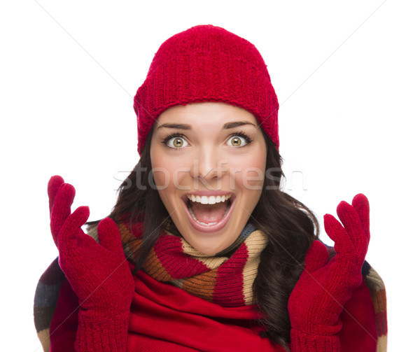 Extatisch halfbloed vrouw winter hoed Stockfoto © feverpitch