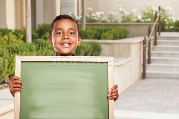 Stockfoto: Latino · jongen · krijt · boord · school