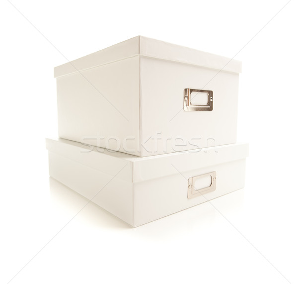 Stacked White File Boxed Isolated on Background Stock photo © feverpitch