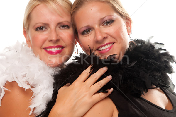 Portrait of Two Blonde Haired Smiling Girls Stock photo © feverpitch