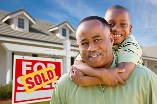 отцом сына недвижимости знак домой счастливым афроамериканец Сток-фото © feverpitch