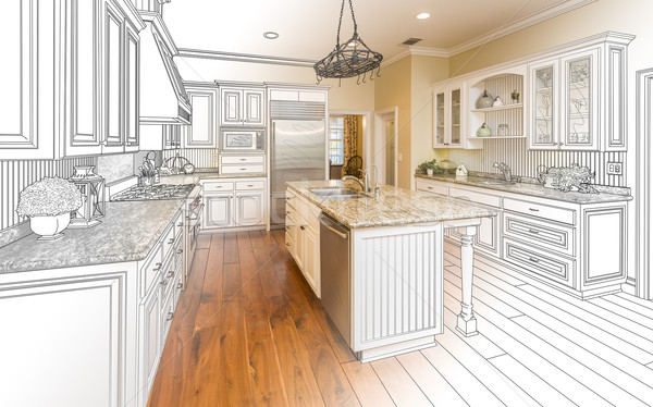 Stock photo: Custom Kitchen Design Drawing and Gradated Photo Combination