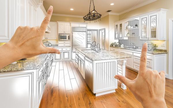 Handen gewoonte keuken ontwerp tekening foto Stockfoto © feverpitch