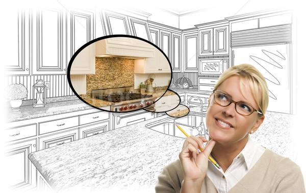 女性 カスタム キッチン 図面 思考バブル 写真 ストックフォト © feverpitch