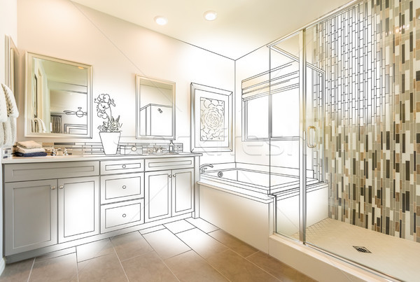 Custom Master Bathroom Photo With Brush Stroke to Design Drawing Stock photo © feverpitch
