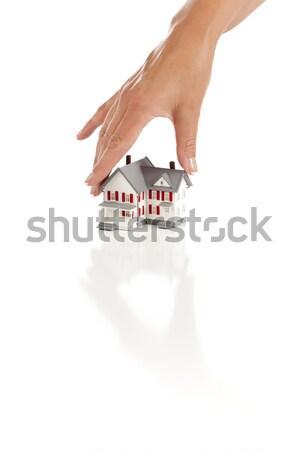 Foto stock: Mão · escolher · casa · branco · edifício · arquitetura