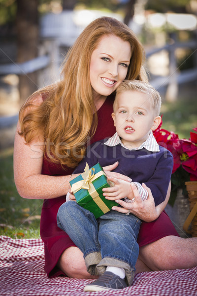 Young Boy Holding Christmas Gift with His Mom in Park Stock photo © feverpitch