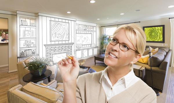 Stockfoto: Vrouw · potlood · gewoonte · kamer · ontwerp · tekening