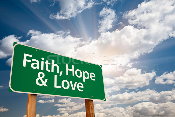 Faith, Hope and Love Green Road Sign Stock photo © feverpitch