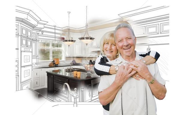 Photo stock: Couple · de · personnes · âgées · cuisine · design · dessin · photo · blanche