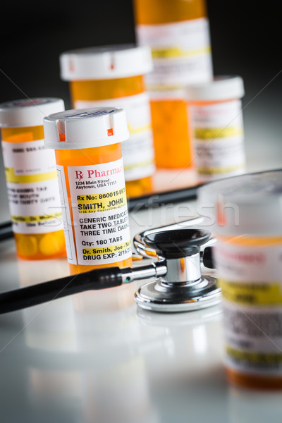 Non-Proprietary Medicine Prescription Bottles Abstract with Stet Stock photo © feverpitch
