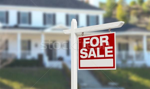 Domu sprzedaży nieruchomości podpisania piękna Zdjęcia stock © feverpitch