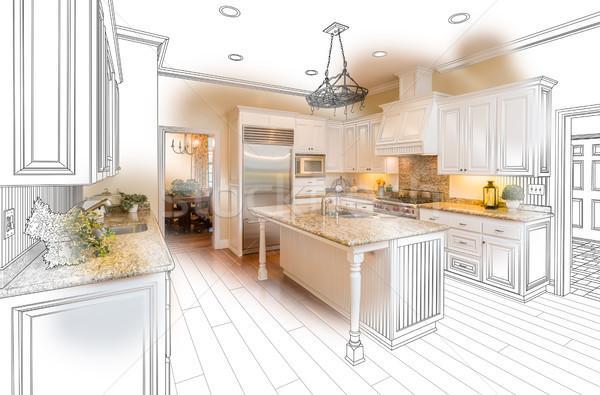 Mooie gewoonte keuken tekening foto combinatie Stockfoto © feverpitch