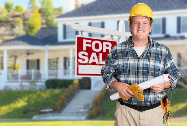 Auftragnehmer Pläne Schutzhelm Verkauf wirklich Immobilien Stock foto © feverpitch