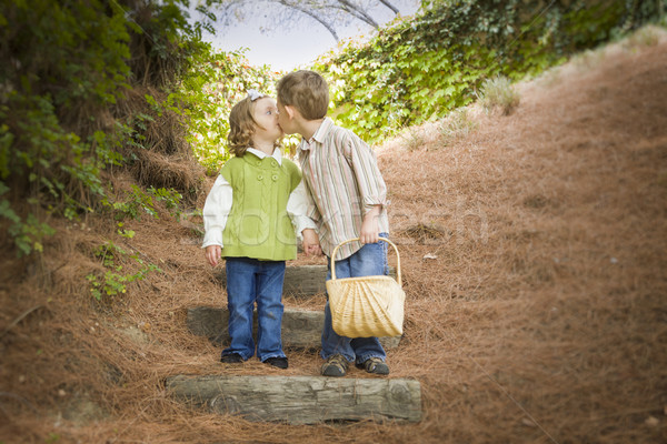Two Children with Basket Kissing Outside on Steps Stock photo © feverpitch