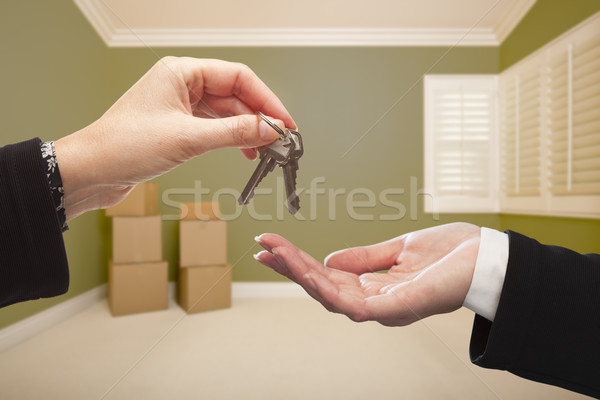 Woman Handing Over the House Keys Inside Empty Green Room Stock photo © feverpitch