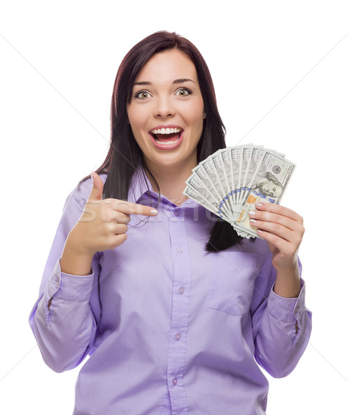 Stock photo: Mixed Race Woman Holding the New One Hundred Dollar Bills