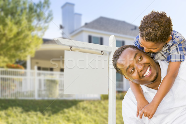 African American Father and Mixed Race Son, Blank Sign, House Stock photo © feverpitch