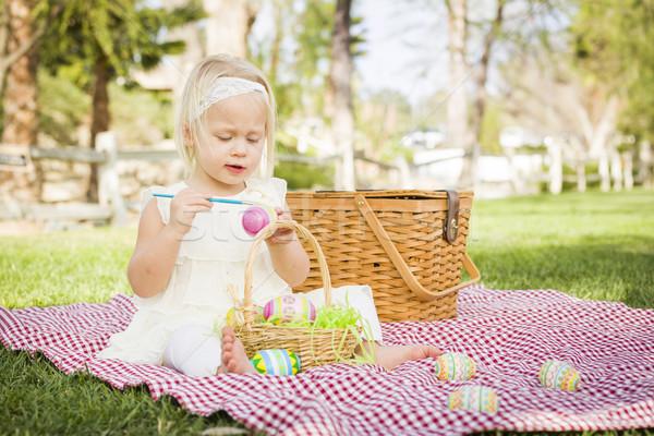 Cute paaseieren picknickdeken gras Pasen Stockfoto © feverpitch