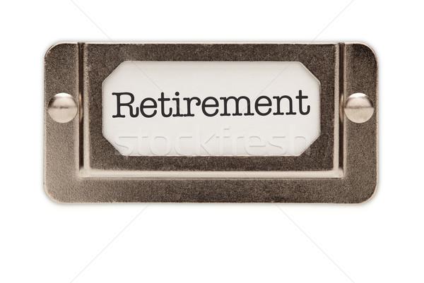 Nyugdíj akta fiók címke izolált fehér Stock fotó © feverpitch