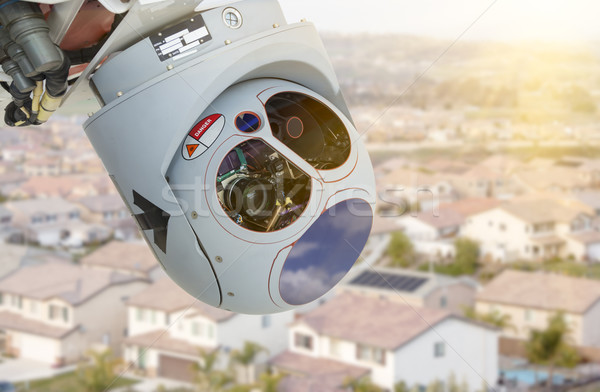 Closeup of Drone Camera and Sensor Pod Module Above Neighborhood Stock photo © feverpitch