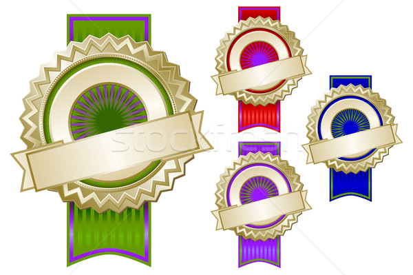 Set of Four Colorful Emblem Seals with Ribbons Stock photo © feverpitch