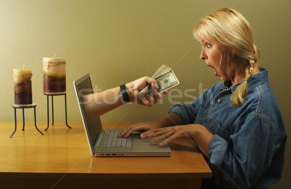 Dicsőség internet ekereskedelem vonzó üzletasszony megrémült Stock fotó © feverpitch