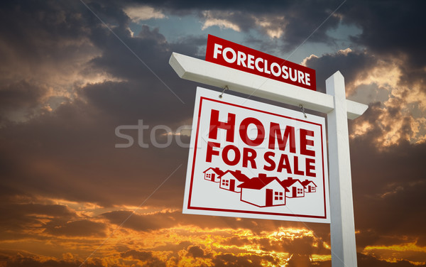 White and Red Foreclosure Home For Sale Real Estate Sign Over Su Stock photo © feverpitch