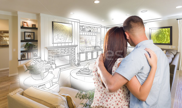 Military Couple Looking Over Living Room Design Drawing Photo Co Stock photo © feverpitch