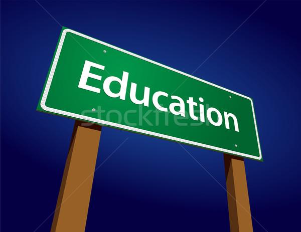 Foto stock: Educação · verde · placa · sinalizadora · ilustração · arte · sucesso